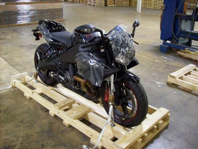Motorbike on wood pallet